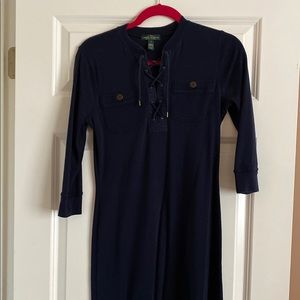 Ralph Lauren Cotton Rope Neck Navy Dress